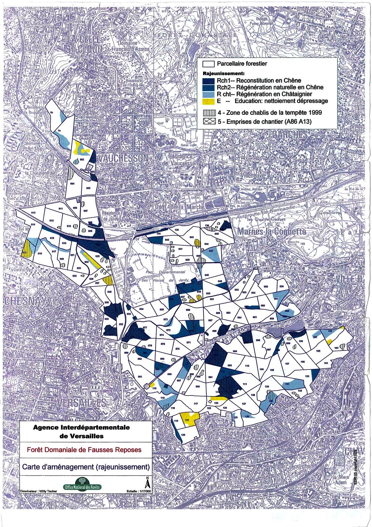 carte d'aménagement rajeunissement ONF